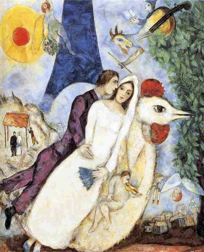 Marc Chagall, The bridal couple of the Eiffel Tower